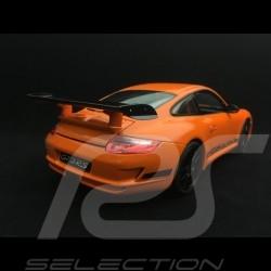 Porsche 911 GT3 RS 997 phase II orange / bandes noires black stripes schwarzen streifen 2007 1/18 Welly 18015