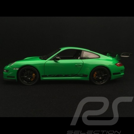 Porsche 911 GT3 RS 997 phase II grün / schwarzen streifen 2007 1/18 Welly 18015