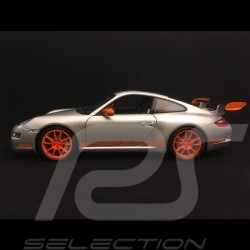 Porsche 911 GT3 RS 997 3.6 ph 1 grise / bandes oranges 2007 1/18 Welly 18015