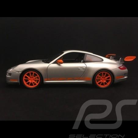 Porsche 911 GT3 RS 997 phase II grise / bandes oranges grey / oranges strips graü / orange streifen 2007 1/18 Welly 18015