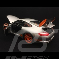 Porsche 911 GT3 RS 997 phase II grise / bandes oranges grey / oranges strips graü / orange streifen 2007 1/18 Welly 18015