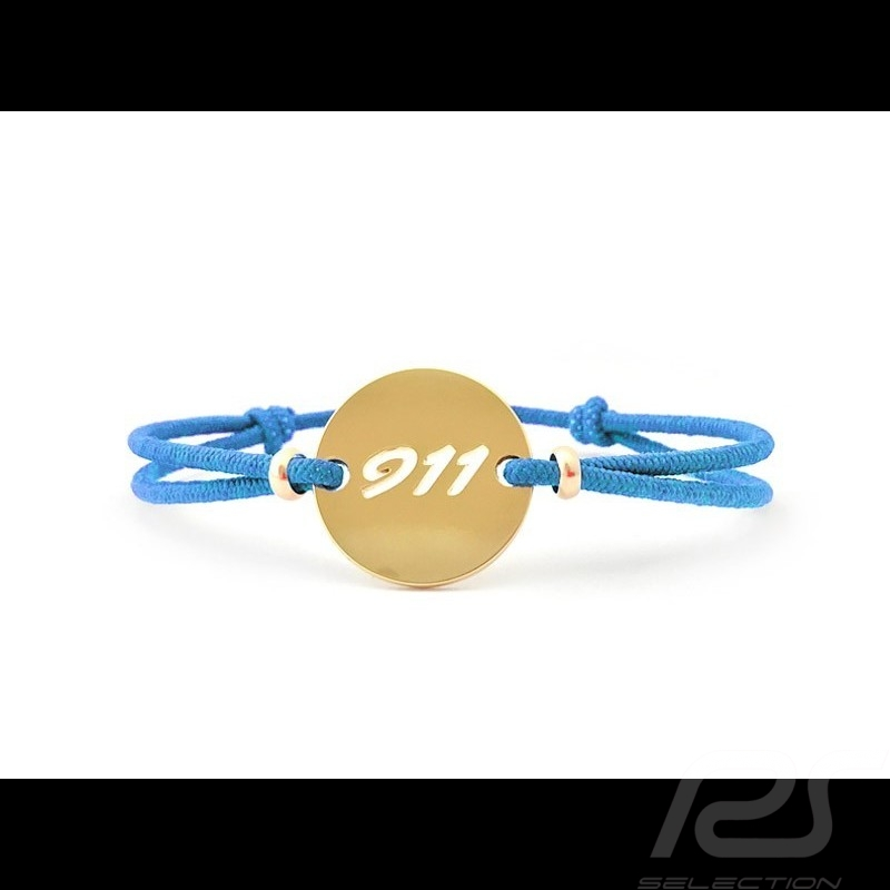 911 Bracelet Limited edition Gold finish Miami blue cord Made in France