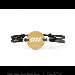 911 Bracelet Limited edition Gold finish black cord Made in France