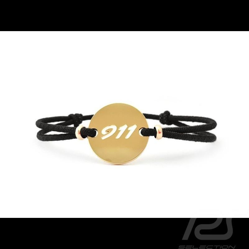 Bracelet 911 Série limitée finition Or cordon noir black schwarz Made in France