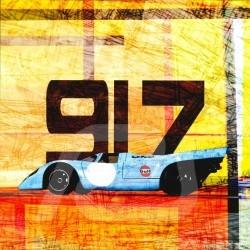 Plakat Porsche 917 Le Mans 1970 50 x 50 originale Kunst von Caroline Llong