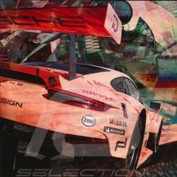 Poster Porsche 911 type 991 RSR Le Mans 2018 Cochon rose 50 x 50 oeuvre originale de Caroline Llong