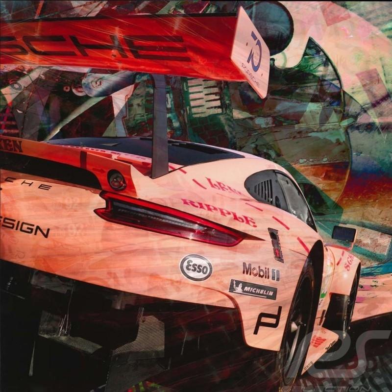 Poster Porsche 911 type 991 RSR Le Mans 2018 Pink Pig 50 x 50 original art by Caroline Llong