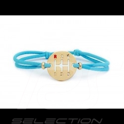 Gearbox Bracelet Gold finish Coloured cord Miami blue Made in France