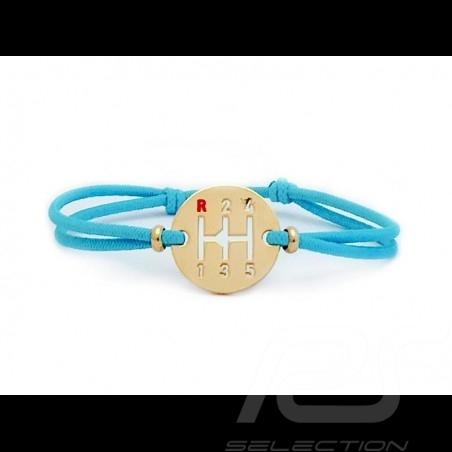 Bracelet Gearbox finition Or cordon de couleur Bleu miami Made in France