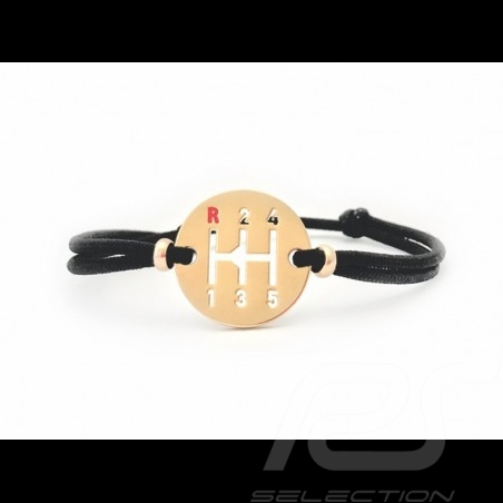Gearbox Armband Gold finish farbige Schnur in schwarz Made in France