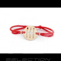 Gearbox Bracelet Gold finish Coloured cord Indian red Made in France