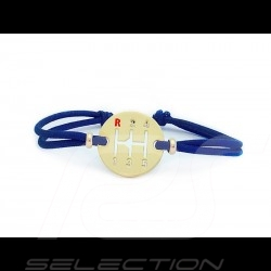 Gearbox Bracelet Gold finish Coloured cord France blue Made in France