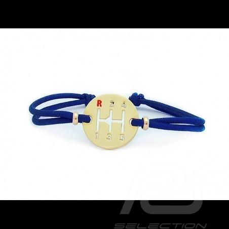 Gearbox Armband Gold finish farbige Schnur in Franceblau Made in France