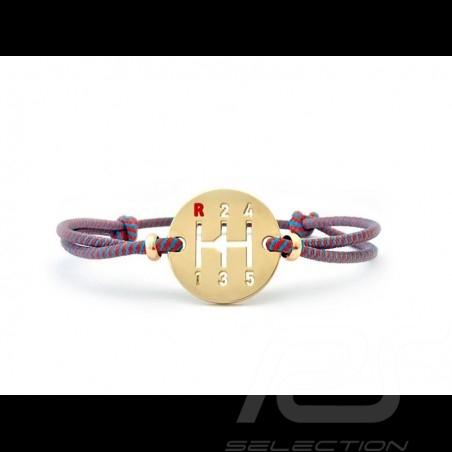 Bracelet Gearbox finition Or cordon de couleur bleu Gulf / orange Made in France