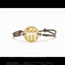 Gearbox Bracelet Gold finish Coloured cord brown Made in France