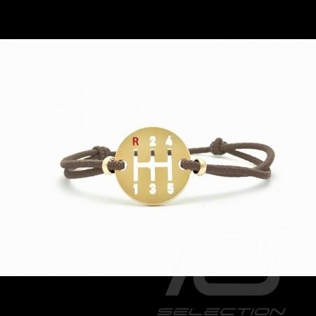 Bracelet Gearbox finition Or cordon de couleur marron brown braun Made in France