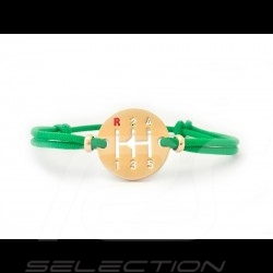 Gearbox Bracelet Gold finish Coloured cord green Made in France