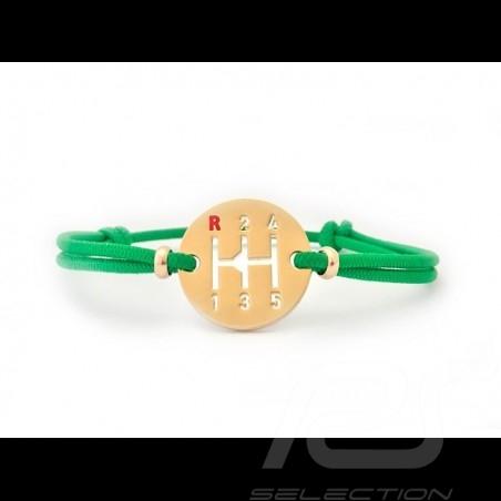 Bracelet Gearbox finition Or cordon de couleur vert green grün Made in France