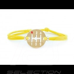 Gearbox Bracelet Gold finish Coloured cord speed yellow Made in France