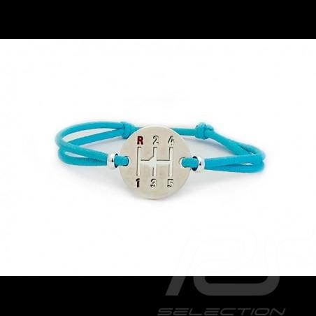 Bracelet Gearbox finition Argent cordon de couleur bleu blue blau Miami Made in France
