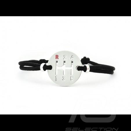Bracelet Gearbox finition Argent cordon de couleur noir black schwarz Made in France