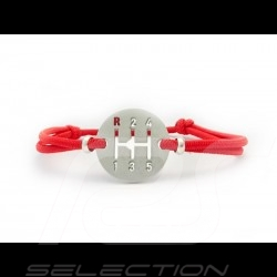 Bracelet Gearbox finition Argent cordon de couleur rouge Indien Indian red Indischrot Made in France