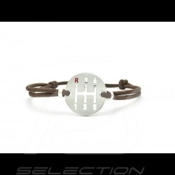 Bracelet Gearbox finition Argent cordon de couleur marron brown braun Made in France