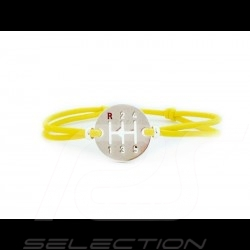 Bracelet Gearbox finition Argent cordon de couleur jaune Racing speed yellow speedgelb Made in France