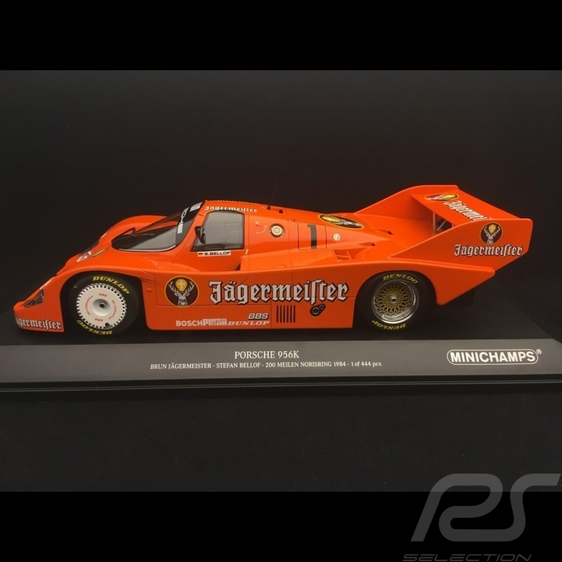 Porsche 956 K Jägermeister Brun n° 1 Stefan Bellof 200 miles Norisring 1984 1/18 Minichamps 153846601