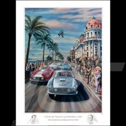 Affiche Tour de France Auto 1959 dessin original de Benjamin Freudenthal