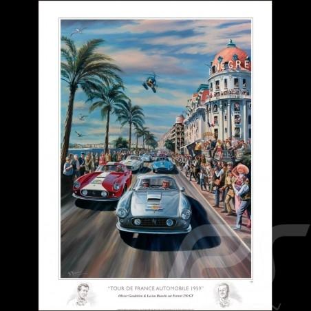 Affiche Tour de France Auto 1959 dessin original de Benjamin Freudenthal original drawing Original Zeichnung