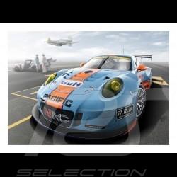 Poster Porsche 997 GT3 RSR Gulf Racing sur tarmac 29.7cm x 42cm