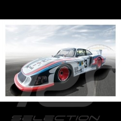Porsche 997 GT3 RSR Gulf Racing on tarmac poster 29.7cm x 42cm