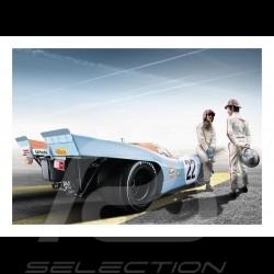 Poster Porsche 917 K n° 22 Gulf Le Mans avec Jo Siffert et Pedro Rodriguez 29.7cm x 42cm