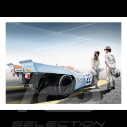 Poster Plakat Porsche 917 K n° 22 Gulf Le Mans avec with mit Jo Siffert et and und Pedro Rodriguez 29.7cm x 42cm