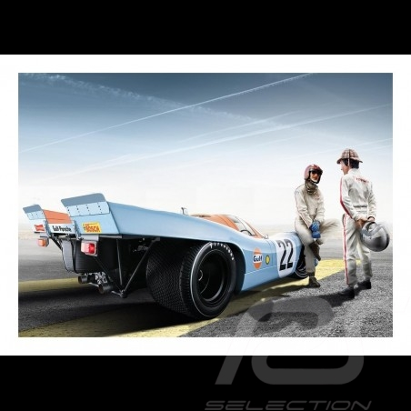 Porsche 917 K n° 22 Gulf Le Mans with Jo Siffert and Pedro Rodriguez poster 83.8cm x 59cm