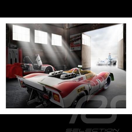 Old garage with Porsche 908 /02 n° 1 Nürburgring 1969 poster 29.7cm x 42cm