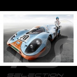 Poster Plakat Porsche 917 n° 20 Gulf avec with mit Steve McQueen  29.7cm x 42cm