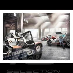 Poster Garage avec Porsche 956, 906 et 904 29.7cm x 42cm