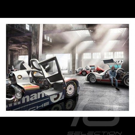 Garage with Porsche 956, 906 and 904 poster 29.7cm x 42cm