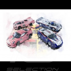 """Poster Porsche 991 GT3 RS """"Cochon rose"""" et Rothmans 29.7cm x 42cm"""