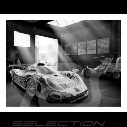 Black and white Porsche 911 GT1 and Porsche Carrera 6 poster 29.7cm x 42cm