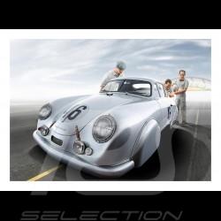 Poster Porsche 356SL Veuillet et Mouche Le Mans 1951 29.7cm x 42cm