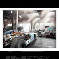 Garage mit Porsche 908 /03, 906, 904 und Porsche 550 plakat 29.7cm x 42cm