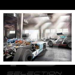 Garage with Porsche 908 /03, 906, 904 and Porsche 550 poster 29.7cm x 42cm