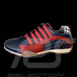 Chaussure Sport sneaker / basket Style pilote Bleu marine / rouge Shoes Schuhe navy blue marineblau homme men herren