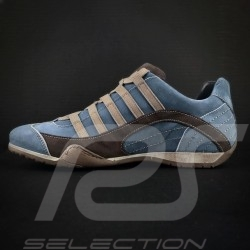 Sneaker / basket shoes Style race driver Pacific blue / brown - men
