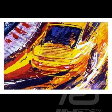 Porsche 911 Turbo jaune Reproduction d'une peinture originale de Uli Hack