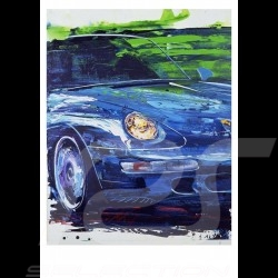Porsche 911 type 993 Carrera 4S blue Reproduction of an Uli Hack original painting