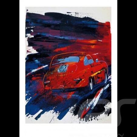 Porsche 356 rouge Reproduction d'une peinture originale de Uli Hack